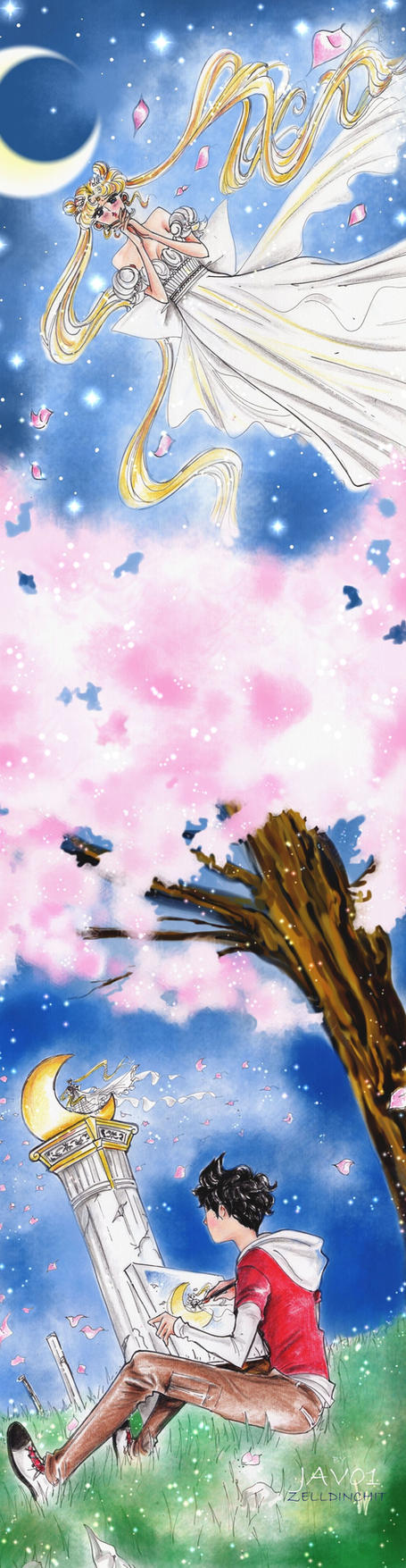 serenity and  javo - the cherry blossom tree by zelldinchit