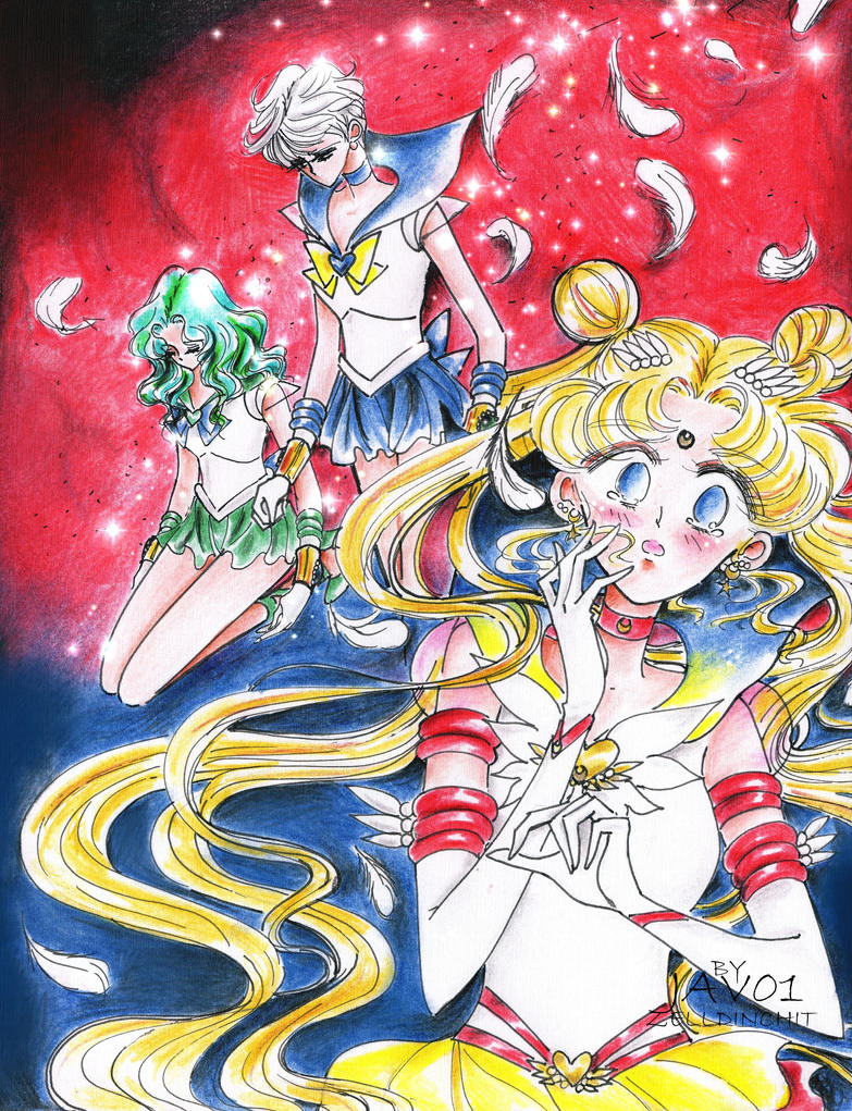 sailor moon stars - Death of Uranus and Neptune by zelldinchit