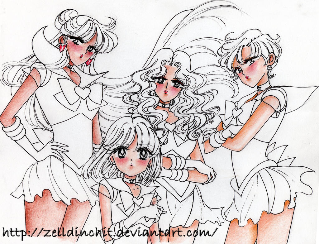 sketches of new drawings -outer senshi by zelldinchit