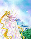 Serenity and chibiusa in Tokyo of crystal