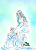 haruka and michiru - Uranus and Neptune princesses by zelldinchit