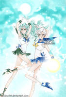 Uranus and Neptune - outer senshis by zelldinchit