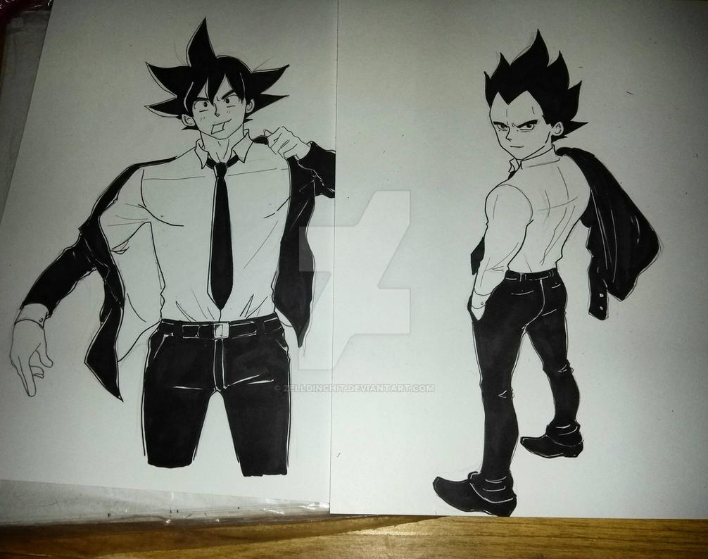 vegeta and goku sketches  by zelldinchit