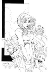 Supergirl with Krypto and Streaky 4 ECCC 2012 by thejeremydale