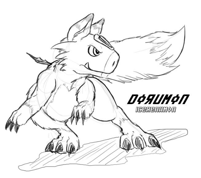 Dorumon sketch 01 by IceRenamon
