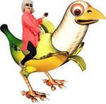 paula deen riding a banan bird