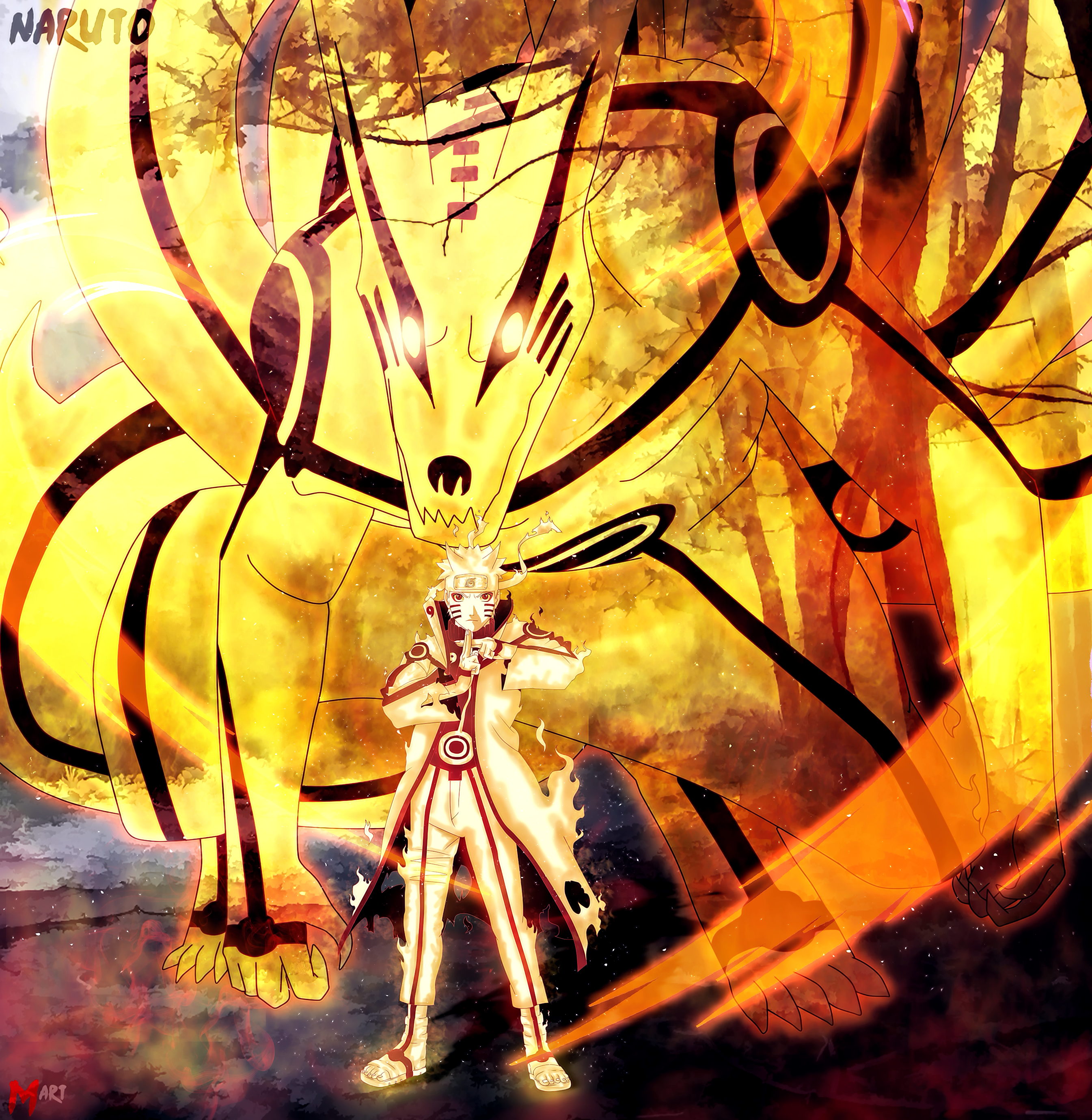 Naruto Sage Bijuu Mode And Kurama By MArttist On DeviantArt