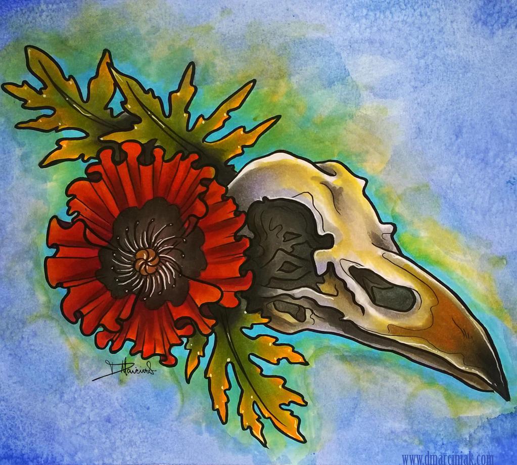 Poppy skull by dmillustration