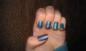 Teal and silvery lilac patterns