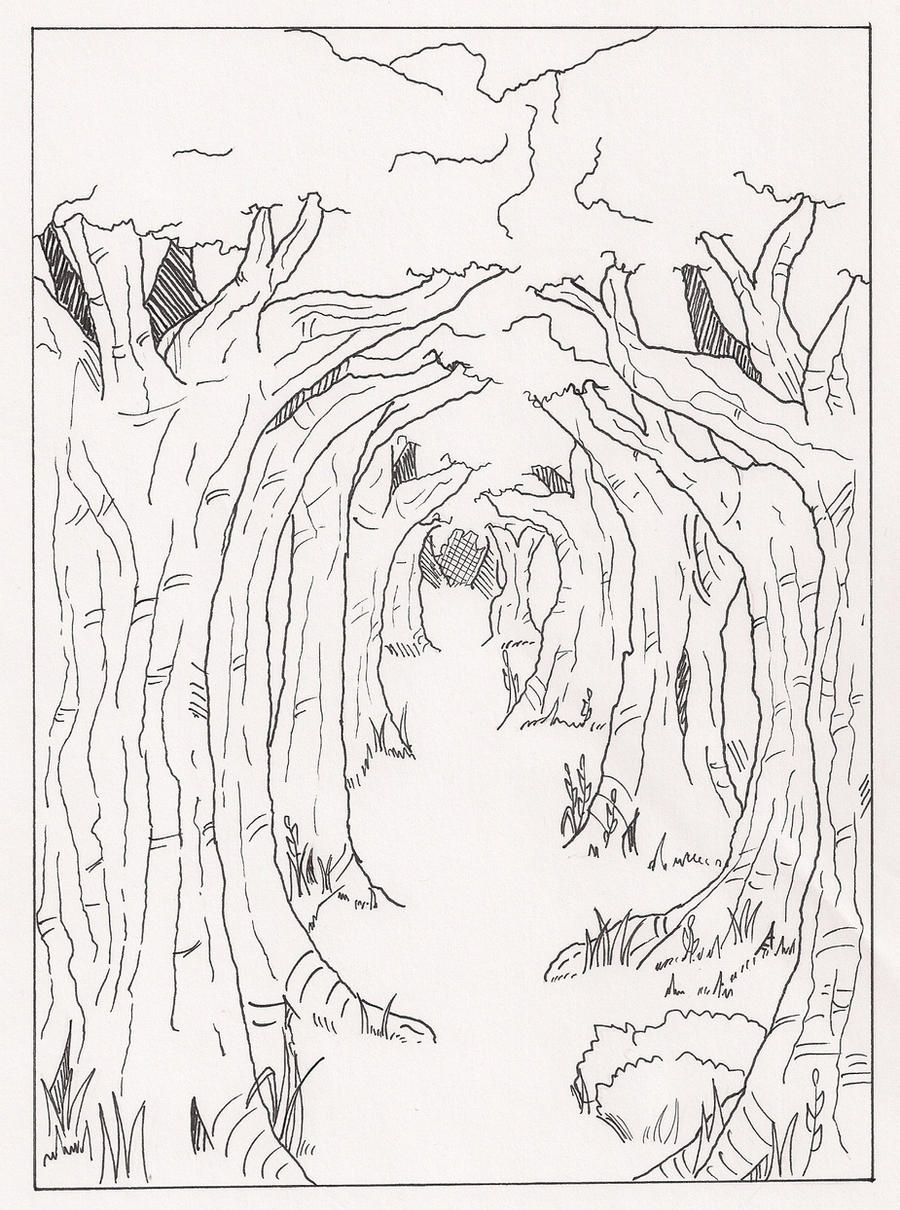 Line Art Forest : Forest path manga page unfinished by michalecr on deviantart