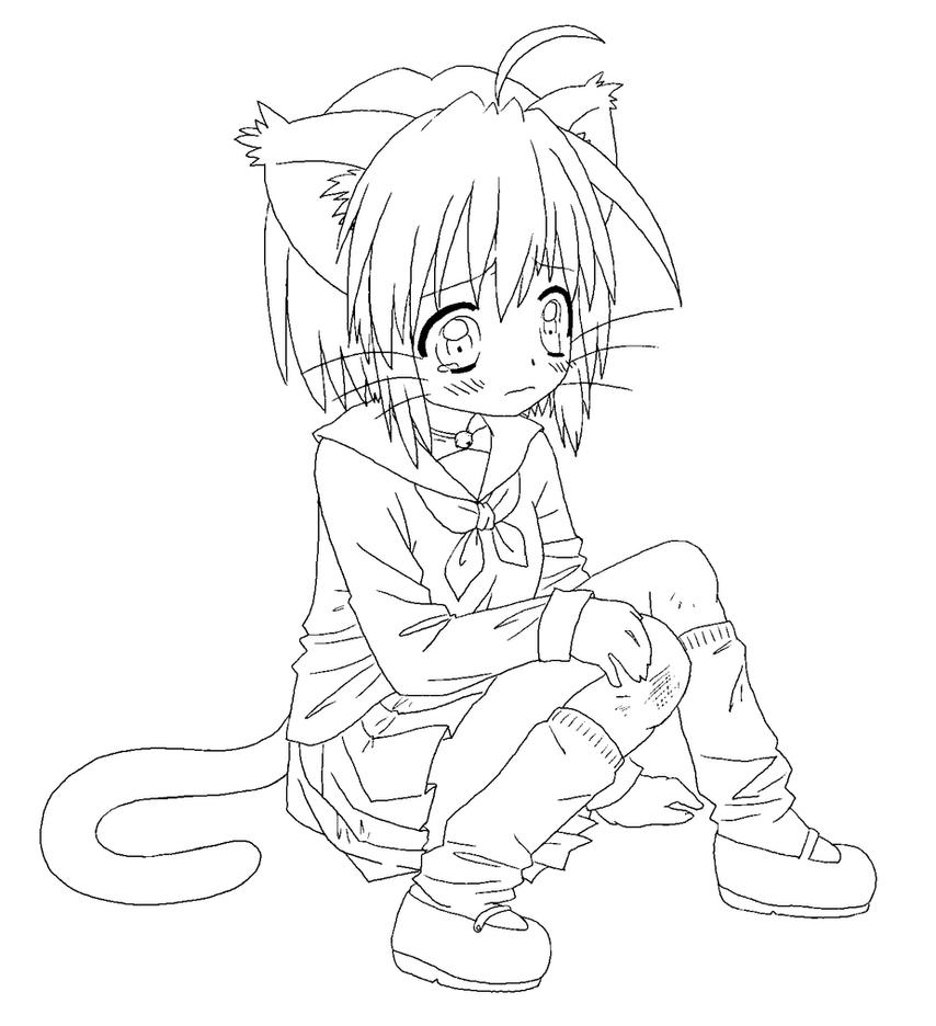 Coloring Lineart : Kitty girl line art by luckyraindrop on deviantart