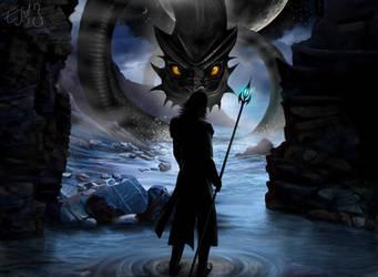 Loki and Jormungandr by eleathyra