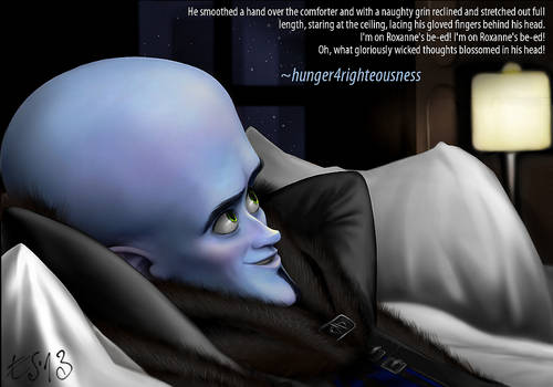 Megamind trying out Roxanne's bed