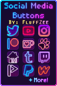 [F2U] Synthwave/Neon - Social Media Buttons