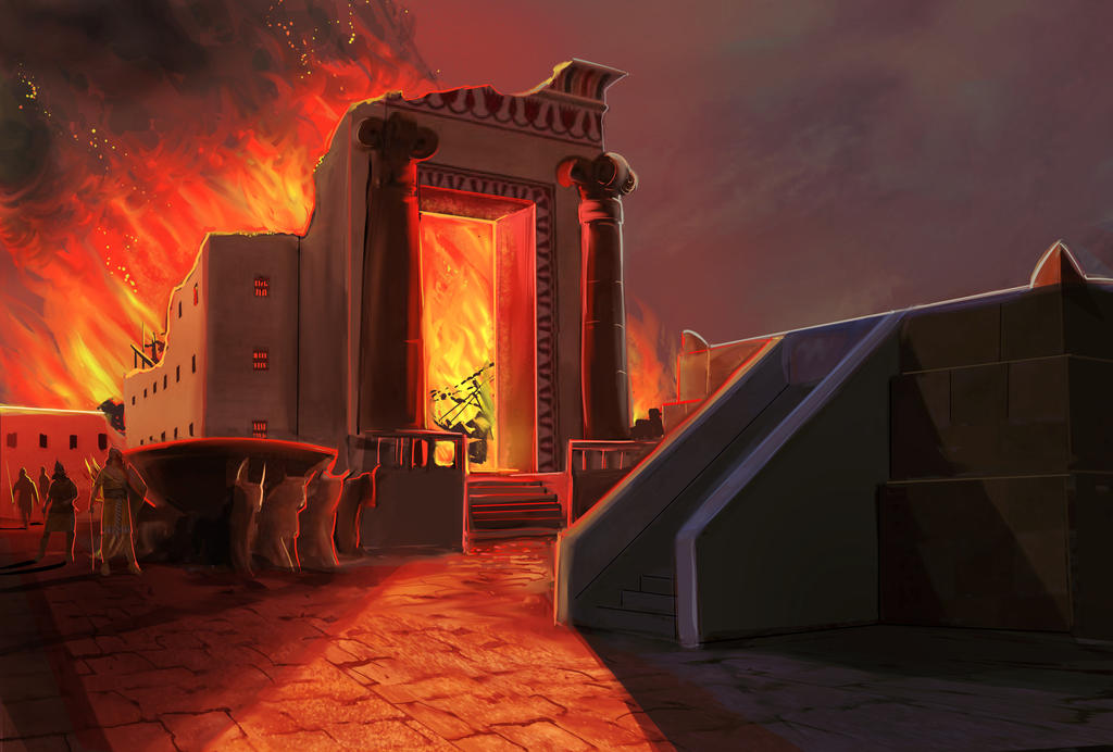 temple in ruin and fire1B by pyraker