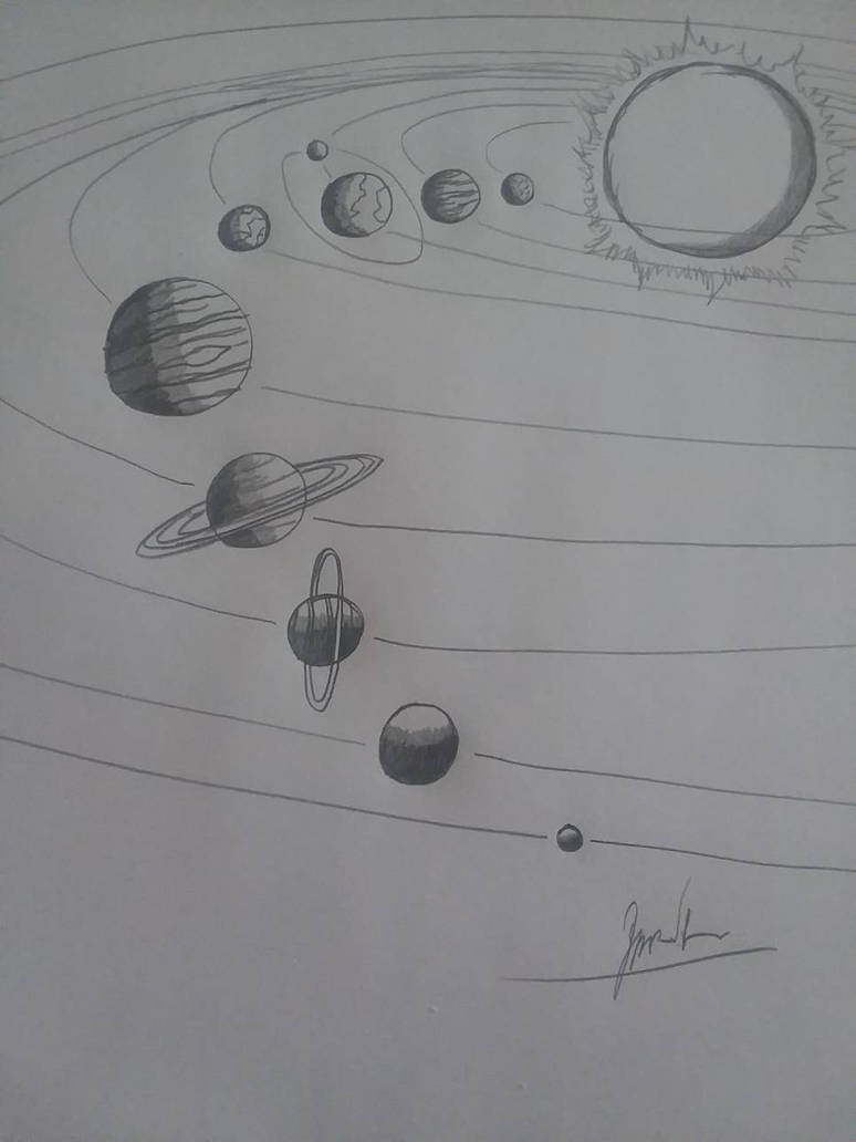 The solar system pencil drawing by zackman92
