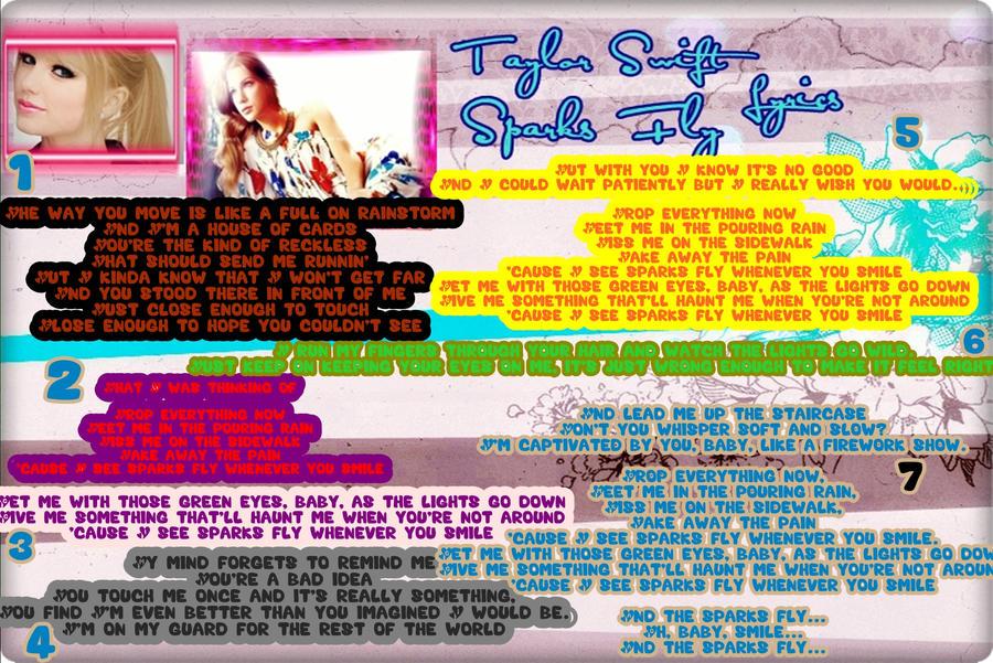 Taylor Swift Lyrics Sparks Fly Taylor Swift Sparks Fly Lyrics by Sparklingbarbie