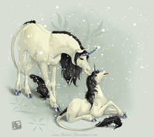 Unicorns in the Snow by AonikaArt