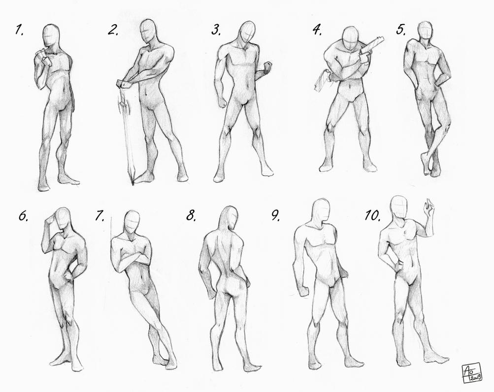 Male poses chart by Aomori