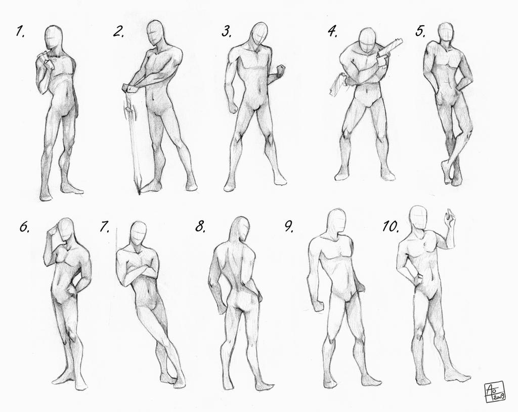 Male poses chart by AonikaArt