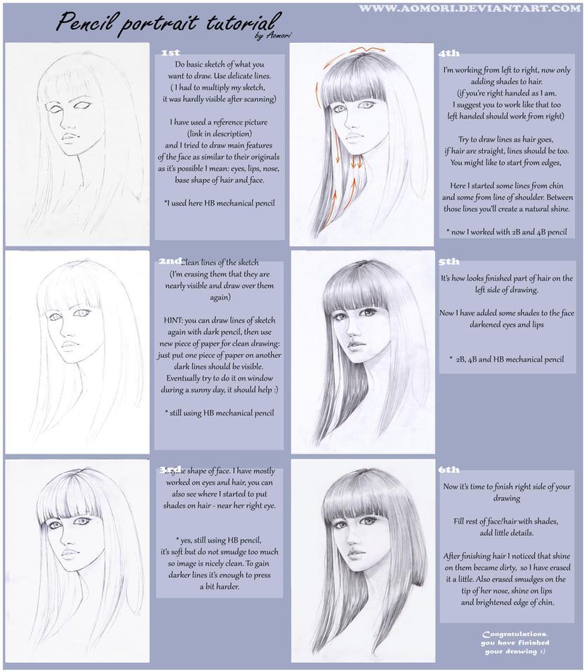Pencil portrait tutorial by Aomori