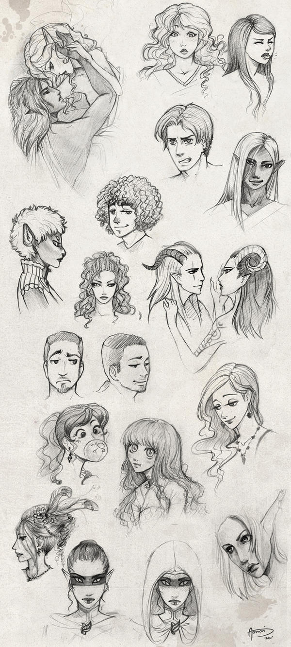 Practice - faces by AonikaArt