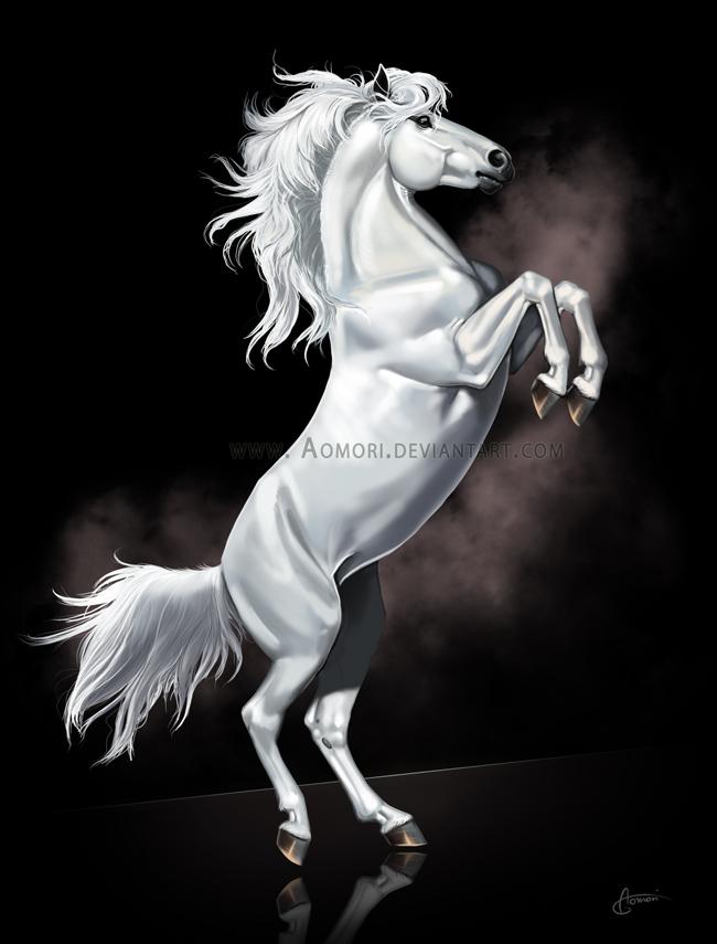 White horse by Aomori