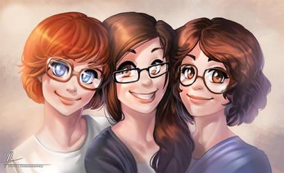 Three girls by AonikaArt