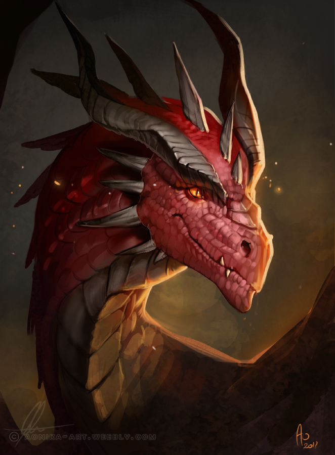 Red dragon portrait by AonikaArt
