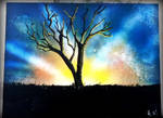 Spray Paint Art: Sunset Tree