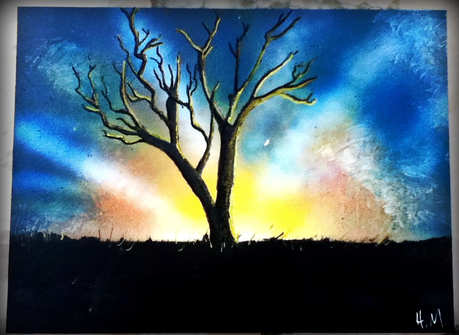Spray Paint Art Sunset Tree By Hectorr94 On Deviantart