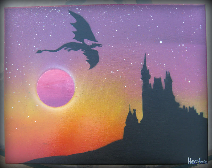 Spray paint art dragon and the castle by hectorr94 for Spray paint art tutorial beginner