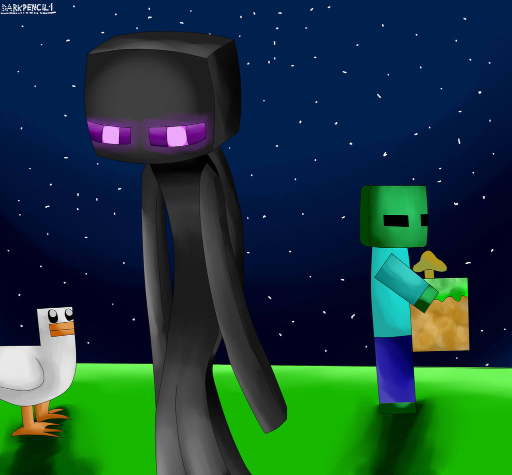Minecraft enderman zombie and chicken by darkpencil1 on - Zombie style minecraft ...