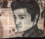 Young Elvis Presley Newspaper Portrait Drawing