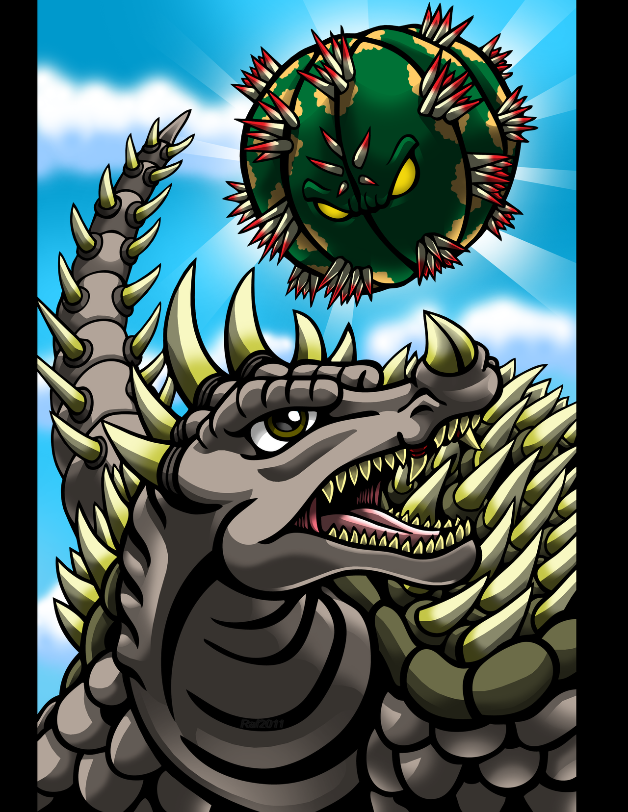 Anguirus Versus Gororin by Enshohma