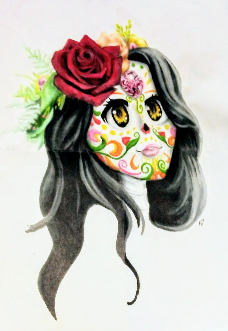 Apology upload - sugar skull lady by kittycheetah14