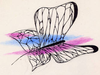 Wire butterfly sketch by aquadrop