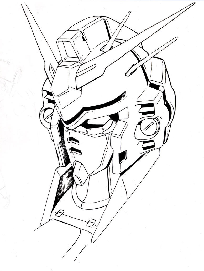 Gundam gp03 head lineart by aquadrop for Gundam wing coloring pages
