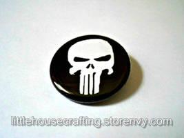Punisher Logo 1.25 inch pinback button by LittleHouseCrafting
