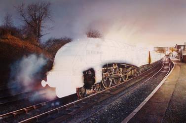train painting WIP Sir Nigel Gresley