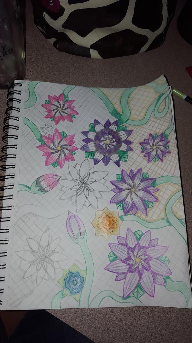 Flowers on Lattice Board wip 3 by AmbertheWolf15