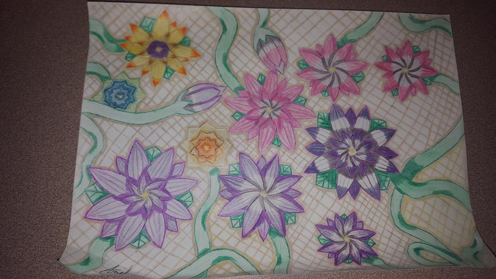 Flowers on Lattice Board by AmbertheWolf15