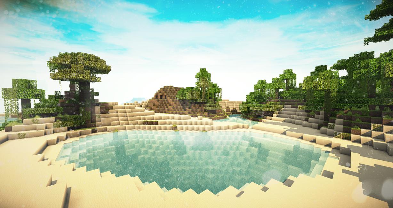 Minecraft $3   Beautiful Desert Lake By X4ct1on ...
