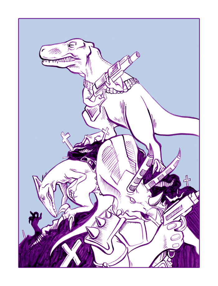 dinosaurs with guns by cold-blooded-angel