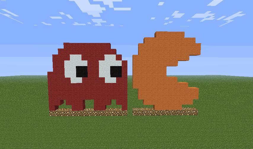 Minecraft Pixel Art 9: Pac-Man And Blinky By Gojirayoshi