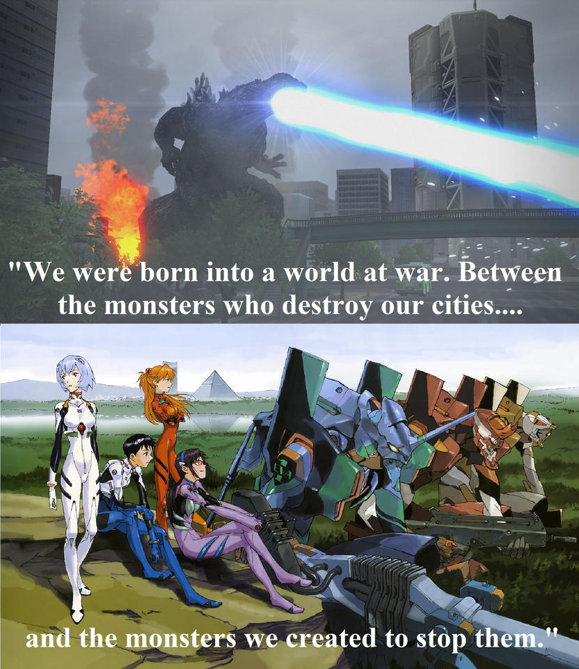 Evangelion X Godzilla Monsters against Monsters by Sideswipe217
