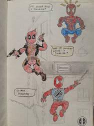Spider-Man, Scarlet Spider and Deadpool