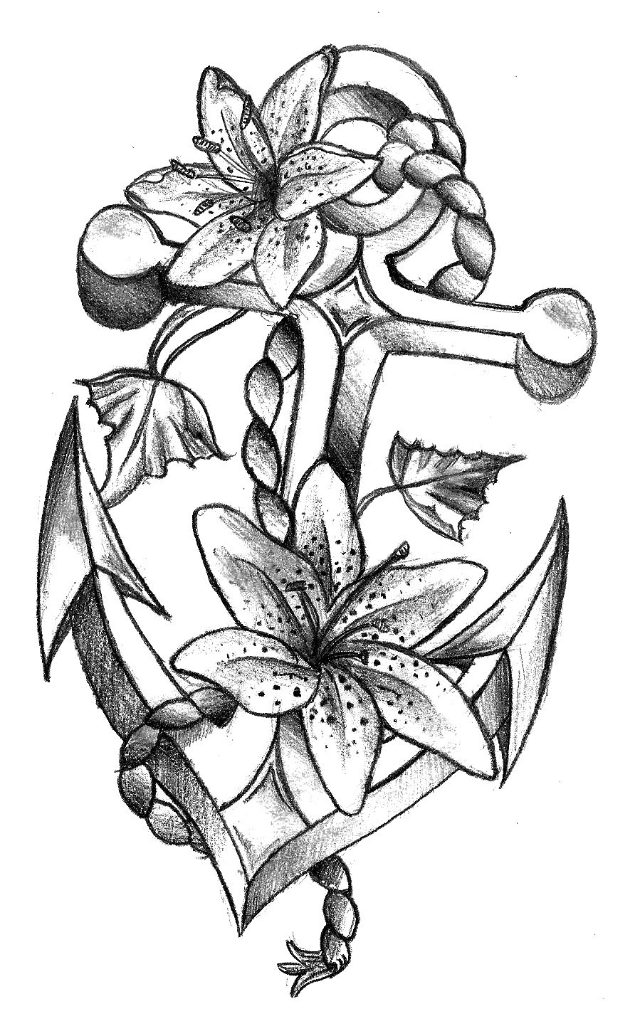 anchor and flowers tattoo design by patsurikku on deviantart. Black Bedroom Furniture Sets. Home Design Ideas