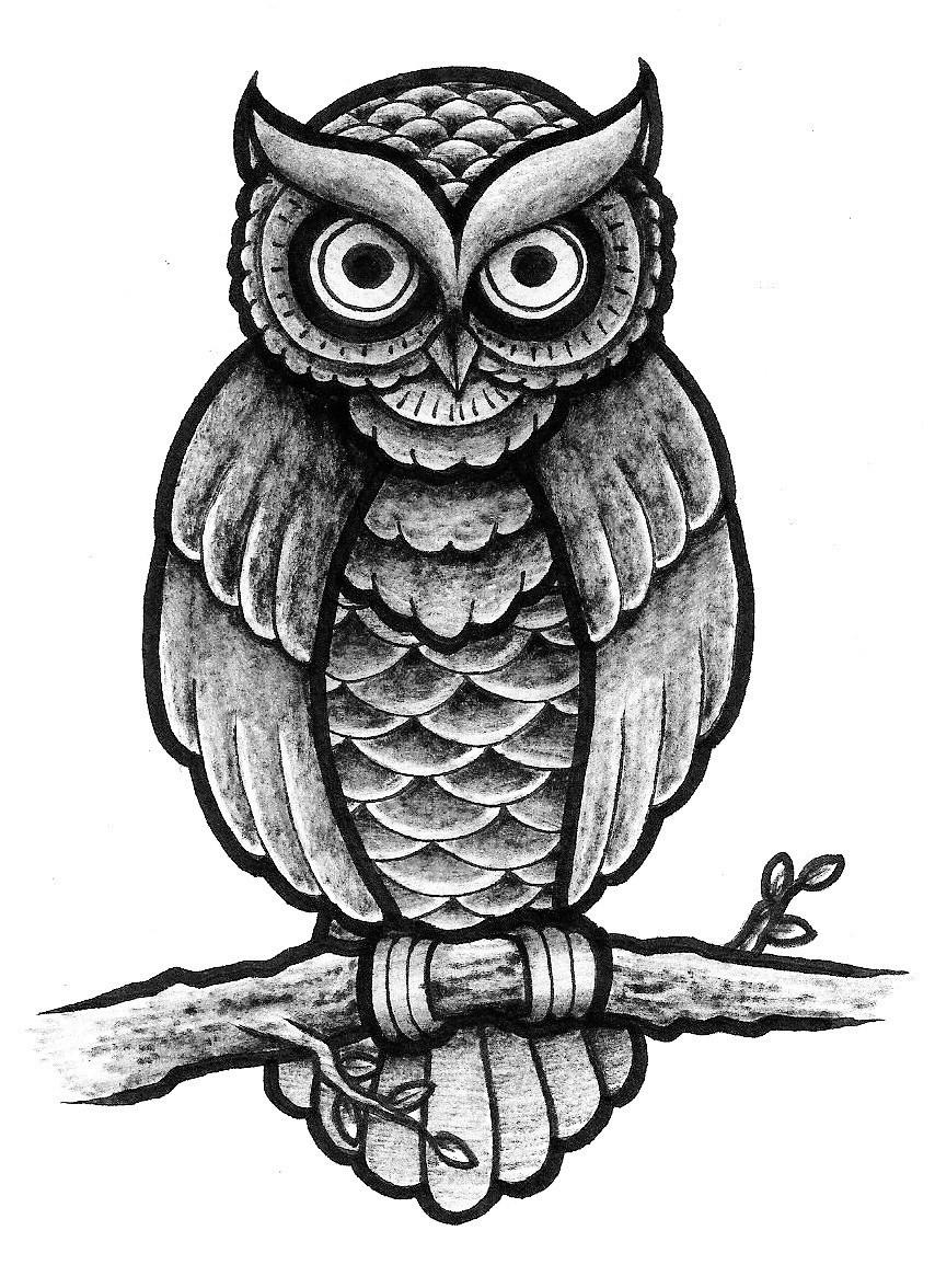 traditional owl design full shading by patsurikku on deviantart