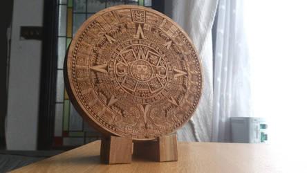 Aztec Sun Stone made from walnut by CraigRobbo